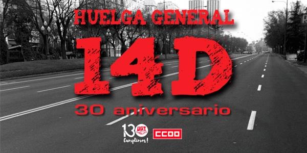 UGT y CCOO conmemoran el 30 aniversario del 14-D