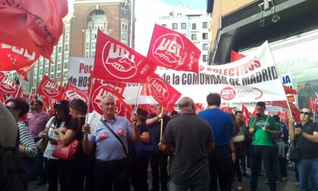 Manifestación en el #DiaMundiaDelTurismo por los convenios de hostelería y hospedaje de la CAM