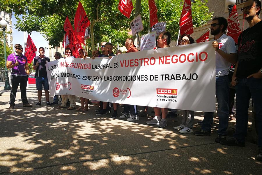 Concentración de trabajadores de seguridad privada en protesta por el modelo de contratación de las empresas