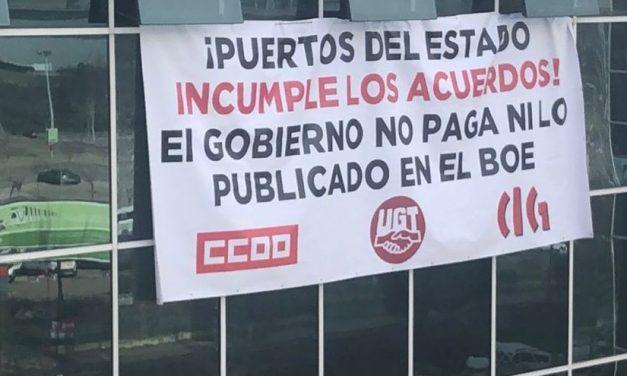 Los sindicatos se encierran en la sede de Puertos de Estado