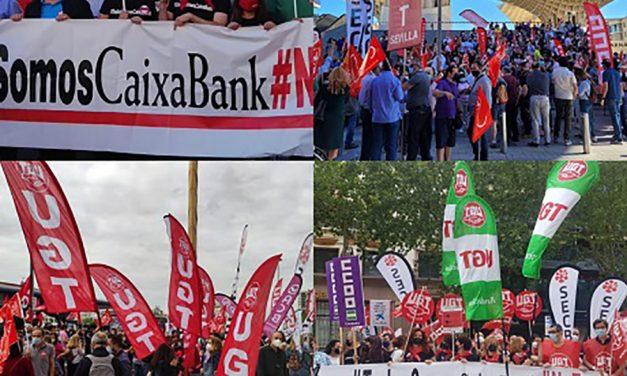 Seguimiento masivo en Andalucía de la plantilla en la huelga convocada en Caixabank
