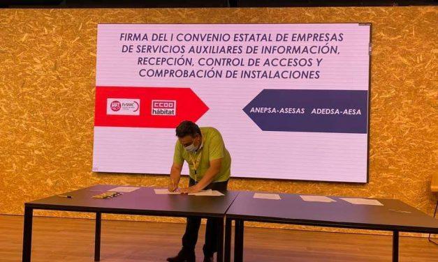UGT firma el primer convenio estatal de auxiliares de servicios de control de accesos